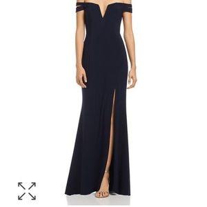Aqua Off-the-Shoulder Gown Navy Slit